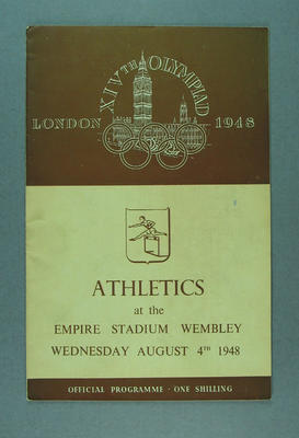 Programme for 1948 London Olympic Games athletics events, 4 August; Documents and books; 1988.2060.6