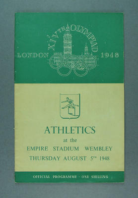 Programme for 1948 London Olympic Games athletics events, 5 August; Documents and books; 1988.2060.7
