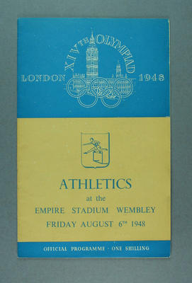Programme for 1948 London Olympic Games athletics events, 6 August; Documents and books; 1988.2060.8