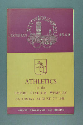 Programme for 1948 London Olympic Games athletics events, 7 August; Documents and books; 1988.2060.9