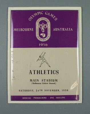 1956 Olympic Games - Official Athletics Programme, Main Stadium, 24 November; Documents and books; 1989.2087.25