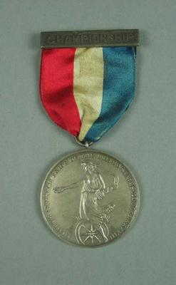Silver medal presented to champion of 1924 A.A.U.U.S. long distance swimming race, won by Frank Beaurepaire