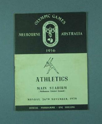 Programme for 1956 Olympic Games athletic events, 26 November