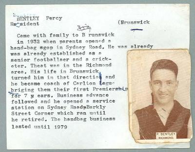 Trade card featuring Percy Bentley, Wills Cigarettes c1930s