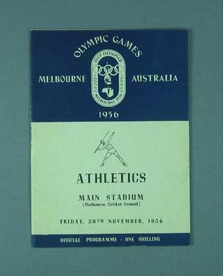 Programme for 1956 Olympic Games athletic events, 30 November