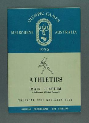 Programme for 1956 Olympic Games athletic events, 29 November