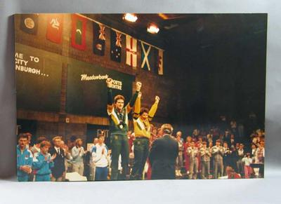 Photograph of 1986 Commonwealth Games mixed doubles badminton team winners