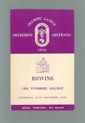 Programme for 1956 Olympic Games rowing events, 24 November; Documents and books; 1991.2423.16