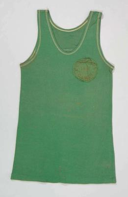 Green singlet worn by Thorold Irwin, during Centenary Games 1935