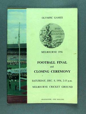 Programme for 1956 Olympic Games football final & closing ceremony, 8 December