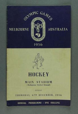 Programme for 1956 Olympic Games hockey events, 6 December; Documents and books; 1991.2489.18