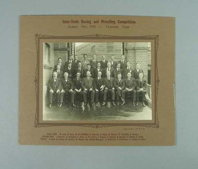 Photograph of Victorian Boxing and Wrestling team in Sydney, Nov 1919