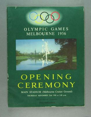 Programme, 1956 Olympic Games Opening Ceremony