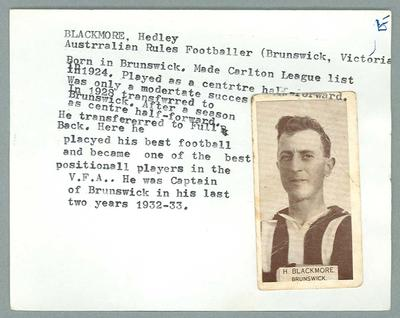 Trade card featuring Hedley Blackmore, Wills Cigarettes c1930s