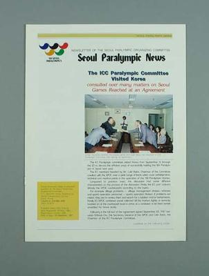 Newsletter, Seoul Paralympic News - 25 Dec 1987