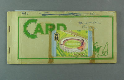 Swap card album, containing cards related to 1956 Olympic Games; Documents and books; 1986.703.1
