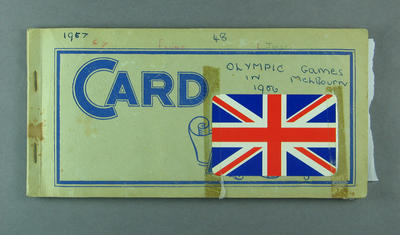 Swap card album, containing cards related to 1956 Olympic Games; Documents and books; 1986.703.2