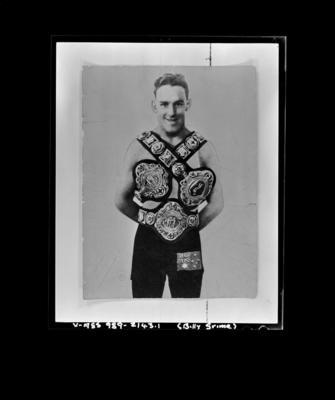 Copy negative of boxer Billy Grime, c1920s
