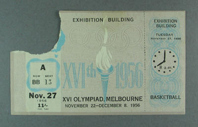 1956 Olympic Games Basketball Admission Ticket