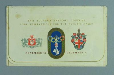 1956 Melbourne Olympic Games Souvenir Ticket Envelope; Documents and books; 1986.257.1