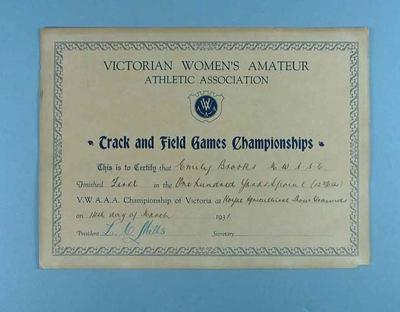 Certificate awarded to Emily Brooks by VWAAA for first place in 100 yards sprint, 14 March 1931