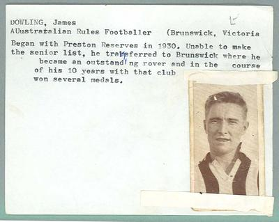 Trade card featuring James Dowling, Wills Cigarettes c1930s