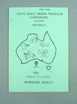 Information booklet - XXVIII World Modern Pentathlon Championships - 10-24 August 1985, Melbourne