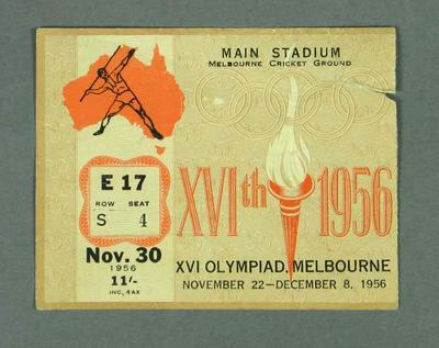 Admission ticket E17, S 4, 1956 Olympic Games, 30 November, Main Stadium MCG