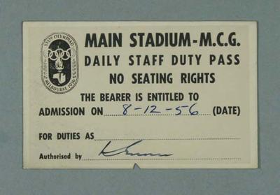 1956 Olympic Games staff duty pass