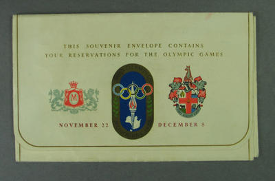 Souvenir Envelope for 1956 Melbourne Olympic Games tickets