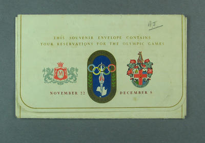 Souvenir envelope for 1956 Olympic Games tickets; Documents and books; 1987.1762.1