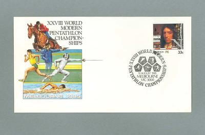 First day cover; white commemorative envelope, XXVIII World Modern Pentathlon Championships, 12 August 1985