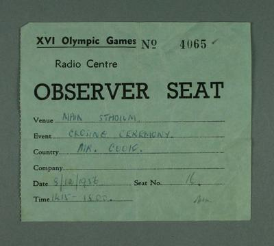 Radio Centre Observer Seat pass, 1956 Olympic Games
