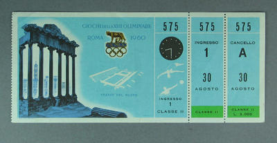 Ticket to 1960 Olympic Games Swimming Event, 30 August