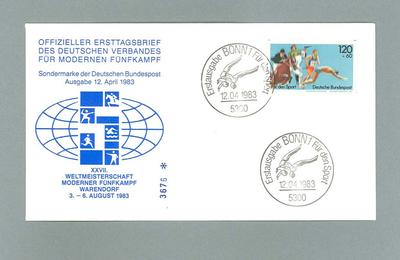 First day cover; white commemorative envelope, XXVII Weltmeisterschaft Moderner Funfkampf Warendorf, 12.04. 1983