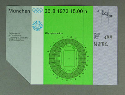 Ticket to 1972 Olympic Games Opening Ceremony, 26 August; Documents and books; 1987.1808.2