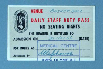 Staff pass to 1956 Olympic Games basketball events, 30 November