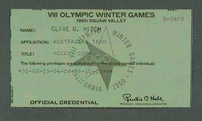 1960 Winter Olympic Games official credential, issued to Clive Hitch