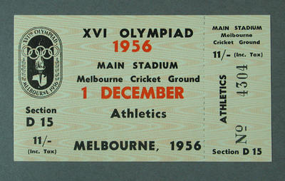 Ticket - 1956 Olympic Games, Athletics,  Main Stadium  Section D15 No.4304