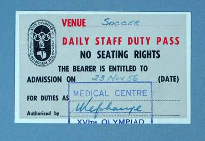 Staff pass to 1956 Olympic Games soccer events, 23 November