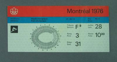 Ticket for 1976 Olympic Games track & field events, 28 July