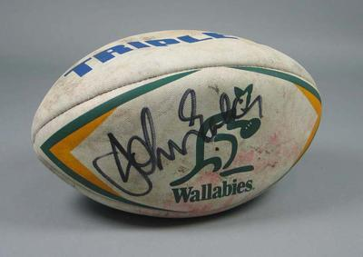 Rugby union match ball autographed by Australian & New Zealand captains, Bledisloe Cup match at MCG  11 July 1998
