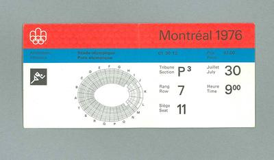 Ticket for 1976 Olympic Games track & field events, 30 July