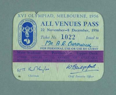 Melbourne 1956 Olympic Games All Venues Pass, issued to A E Chadwick