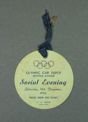 Ticket for Olympic Car Depot Social Evening, 15 Dec 1956
