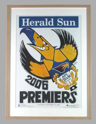 Poster -  West Coast Eagles Premiers 2006 Grand Final, cartoonist WEG; Documents and books; 2007.24