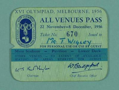 Venues pass, 1956 Melbourne Olympic Games