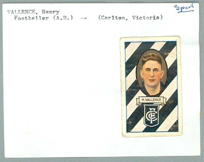 Trade card featuring Harry Vallence, Allens 1933