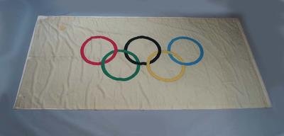 Autographed Olympic flag, flown at velodrome during 1956 Olympic Games