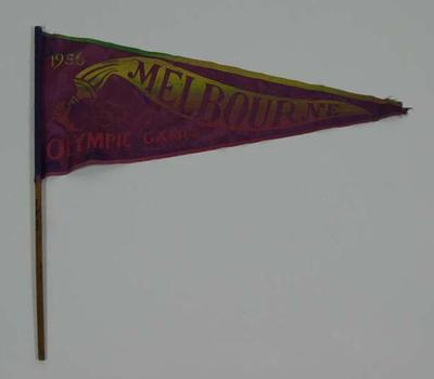 1956  Olympic Games Purple Pennant with Torch on Doweling,  wording  Melbourne and 1956 Olympic Games